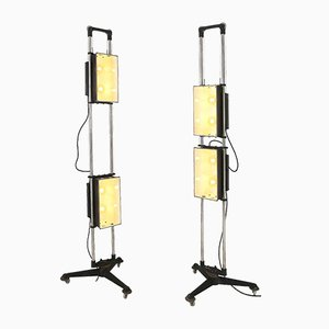 Large Vintage Industrial Theatre Floor Lamps, Set of 2