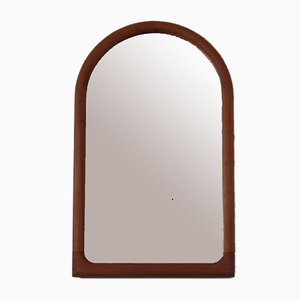Large Solid Cathedral Teak Mirror, Denmark, 1960s
