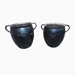 Antique Pre-War Cast Iron Planters, Set of 2