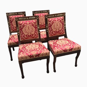 Antique Empire Mahogany Dining Chairs, Set of 4