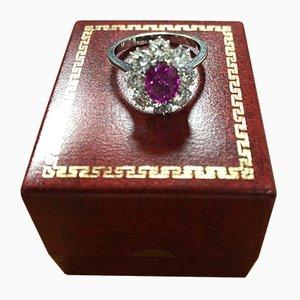 Anello vintage in oro con rubini e diamanti