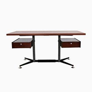 Italian Steel and Mahogany Desk, 1960s