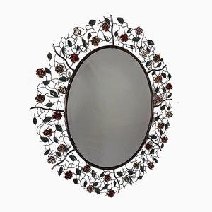 Specchio vintage in ottone rosa