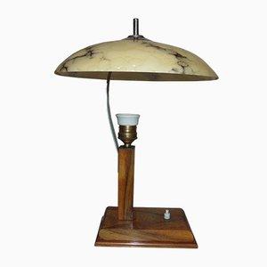 Vintage Art Deco Wooden Table Lamp