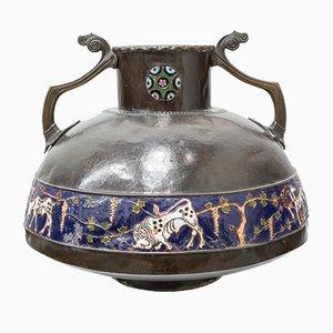 Antique Martelé Bronze with Modernist Enamel Amphora