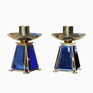 Gold-Plated Brass & Mirrored Glass Candelabras In Bevelled Cobalt Blue, 1950s, Set of 2