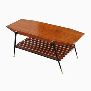 Octagonal Coffee Table in Mahogany with Black Metal & Brass, 1950s