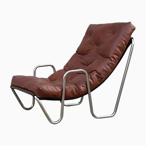 Italian Minimalist Lounge Chair in Chromed Metal, 1970s