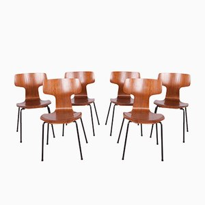 Model 3103 Dining Chairs by Arne Jacobsen for Fritz Hansen, 1970s, Set of 6
