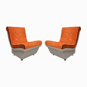 White Resin Plastic and Orange Velvet Armchairs, 1960s, Set of 2