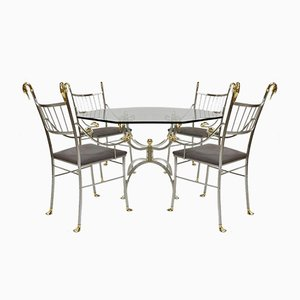 Brass and Metal Dining Table & Chairs Set, 1980s, Set of 5
