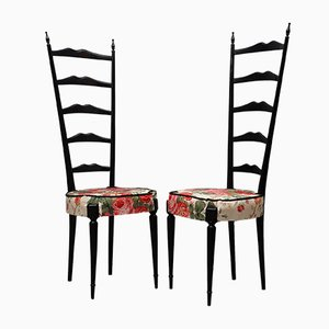 Mid-Century Italian Floral Fabric High Back Ladder Chiavari Chairs, 1950s, Set of 2