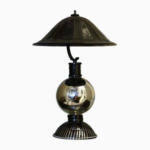 Round Black Murano Glass Table Lamp, 1950s
