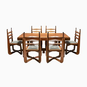 Expressionist Modern Oak Dining Room Set, 1930s, Set of 7