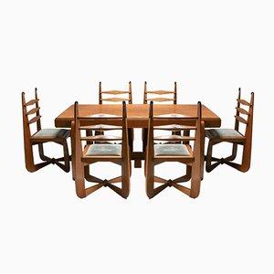 Expressionist Modern Oak Dining Room Set, 1930s, Set of 7