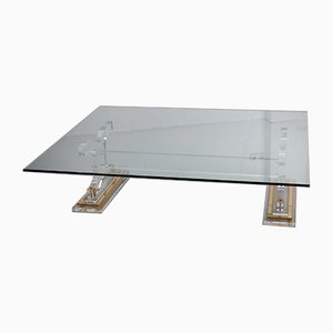 Hollywood Regency Plexiglass Coffee Table With Glass Top