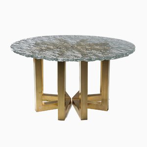 Brass and Cast Glass Round Dining Table by Ettore Gino Poli for Poliarte, 1970s