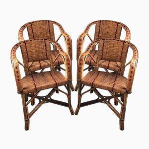 Mid-Century Wicker Chairs, Set of 4