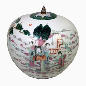 Chinese Qing Dynasty Porcelain Ginger Jar with Lid and Noble Characters, 1870s