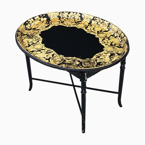 Victorian Black Lacquer Decorated Tray on Stand Coffee Table