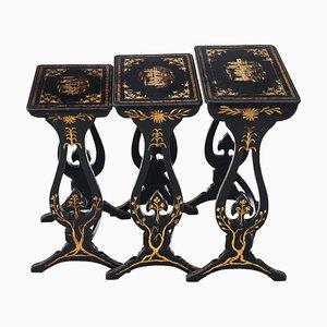 Viktorianische schwarz dekorierte Chinoiserie Satztische
