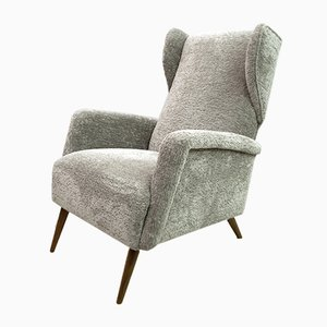 Mid-Century Model 820 Modern Winged Armchair in Chenille Velvet by Gio Ponti, 1950s