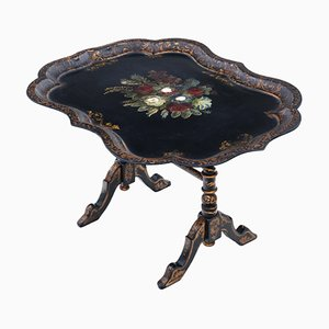 Victorian Black Lacquer Decorated Tilt Top Coffee Table