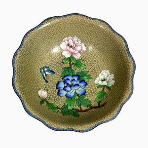 Cloisonné Enamelled Chinese Bowl with Blue, Pink & White Peonies.