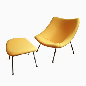 Vintage Oyster Chair with Ottoman by Pierre Paulin for Artifort, 1960s, Set of 2