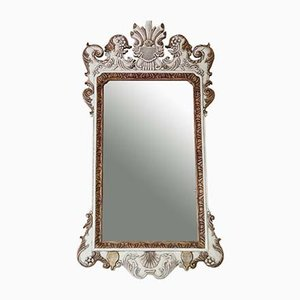 Large White and Gilt Frame Overmantle Wall Mirror, 1920s