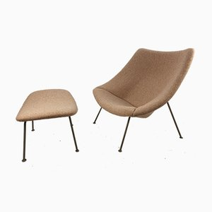 Vintage Oyster Lounge Chair & Ottoman Set by Pierre Paulin for Artifort, 1960s, Set of 2