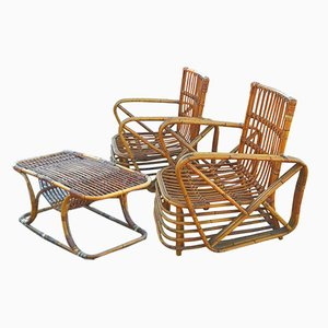 Lounge Chairs & Rattan Coffee Table by Paul Frankl for Paul Frankl, 1940s, Set of 3