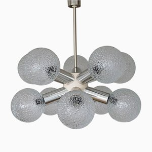 Mid-Century Space Age Sputnik Chandelier with Bubble Glass Balls from VEB Deutsche Werkstätten Hellerau