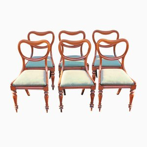 Victorian Mahogany & Pale Green Upholstery Dining Chairs, Set of 6