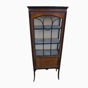 Mahogany 1-Door China Cabinet with Inlay, 1920s