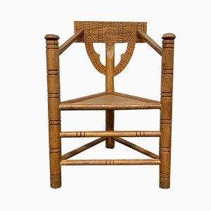 Mid-Century Swedish Carved Monk Chair in Oak, 1950s