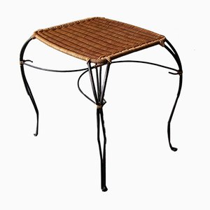 Vintage Scandinavian Rattan and Black Iron Wine Table