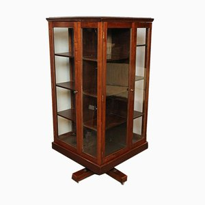 Large Revolving Bookcase With Glass