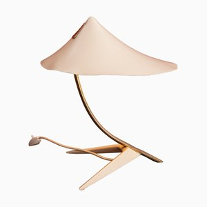 Mid-Century Table Lamp with White Shade