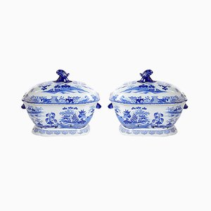 Antique Chinese Blue and White Tureens from Patent Ironstone, Set of 2