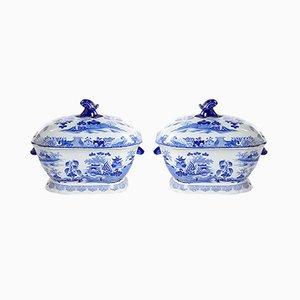 Soperas chinas antiguas en azul y blanco de Patent Ironstone. Juego de 2