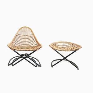 Wicker Cantilever Chair with Ottoman, 1960s, Set of 2