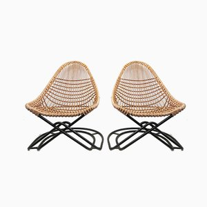 Wicker Cantilever Chairs with Ottoman, 1960s, Set of 3