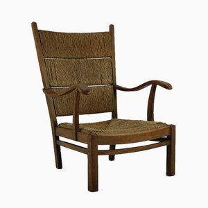 Dutch Rush Lounge Chair, 1930s