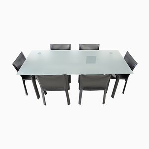 LC6 Dining Table & Cab 412 Chairs by Mario Bellini & Le Corbusier for Cassina, 1990s, Set of 7