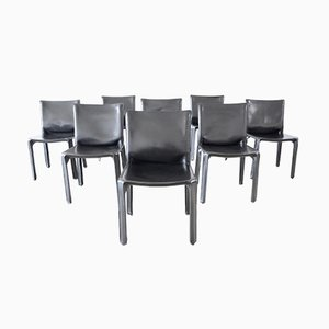 Black Leather Cab 412 Dining Chairs by Mario Bellini for Cassina, 1980s, Set of 8