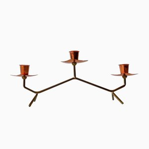 Mid-Century Modern Brass and Copper Candle Holder, 1950s