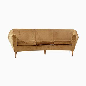 Curved 3-Seater Sofa with Newly Upholstered Smoke Velvet