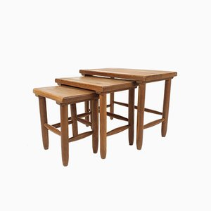 Mid-Century Modern Oak Nesting Tables, 1960s