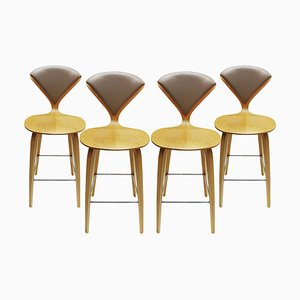 Oak, Chrome and Plywood Stools by Norman Cherner, 1980s, Set of 4